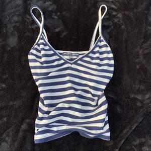 Brandy Melville blue and white tripped tank top💙